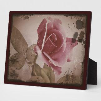 Antique Valentine Rose Photo Plaque
