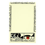ANTIQUE VESSEL AND LOVERS Red Ruby Gem Black Ivory Stationery