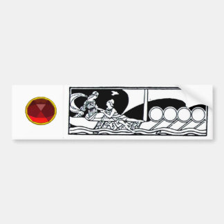 ANTIQUE VESSEL AND LOVERS Red Ruby Gem Black White Bumper Sticker