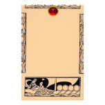 ANTIQUE VESSEL AND LOVERS Ruby Gem Black Peach Stationery