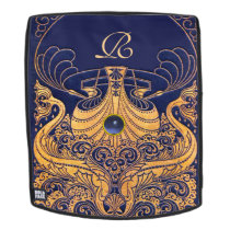 Antique Vessel,Dolphins,Gold,Navy Blue Monogram Backpack
