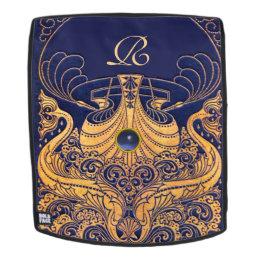 Antique Vessel,Dolphins,Gold,Navy Blue Monogram Backpack