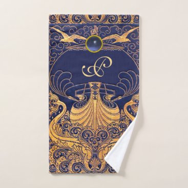 Beach Themed Antique Vessel,Dolphins,Gold,Navy Blue Monogram Bath Towel Set