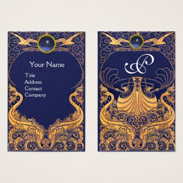 Beach Themed Antique Vessel,Dolphins,Gold,Navy Blue Monogram Business Card