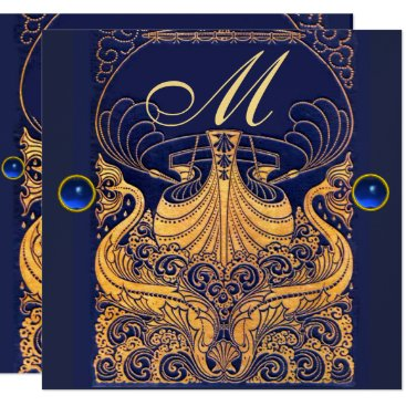 Beach Themed Antique Vessel,Dolphins,Gold,Navy Blue Monogram Card