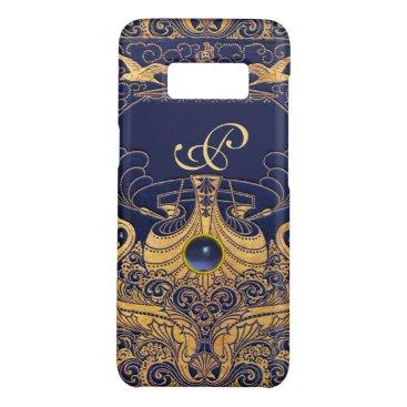 Beach Themed Antique Vessel,Dolphins,Gold,Navy Blue Monogram Case-Mate Samsung Galaxy S8 Case