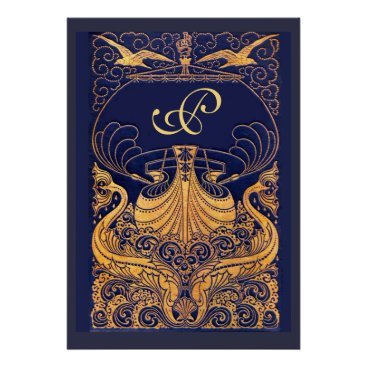 Beach Themed Antique Vessel,Dolphins,Gold,Navy Blue Monogram Poster