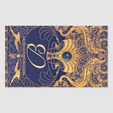 Beach Themed Antique Vessel,Dolphins,Gold,Navy Blue Monogram Rectangular Sticker