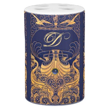 Beach Themed Antique Vessel,Dolphins,Gold,Navy Blue Monogram Soap Dispenser And Toothbrush Holder
