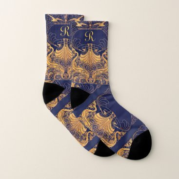Beach Themed Antique Vessel,Dolphins,Gold,Navy Blue Monogram Socks