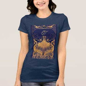 Beach Themed Antique Vessel,Dolphins,Gold,Navy Blue Monogram T-Shirt