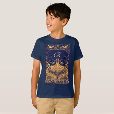 Beach Themed Antique Vessel,Dolphins,Gold,Navy Blue Monogram T-Shirt
