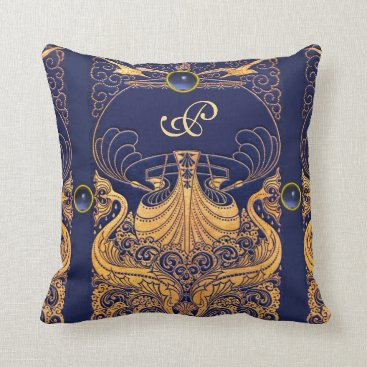 Beach Themed Antique Vessel,Dolphins,Gold,Navy Blue Monogram Throw Pillow