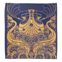 Antique Vessel,Dolphins,Gold,Navy Blue Nautical Bandana