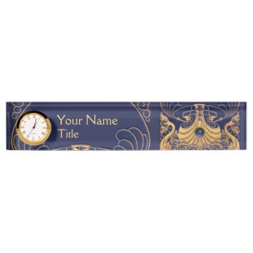 Beach Themed Antique Vessel,Dolphins,Gold,Navy Blue Nautical Desk Name Plate