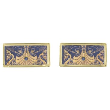 Beach Themed Antique Vessel,Dolphins,Gold,Navy Blue Nautical Gold Cufflinks