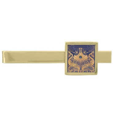 Beach Themed Antique Vessel,Dolphins,Gold,Navy Blue Nautical Gold Finish Tie Bar