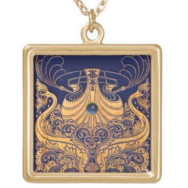Beach Themed Antique Vessel,Dolphins,Gold,Navy Blue Nautical Gold Plated Necklace