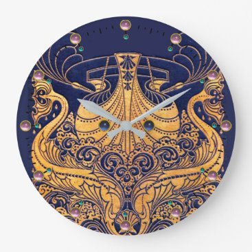 Beach Themed Antique Vessel,Dolphins,Gold,Navy Blue Nautical Large Clock