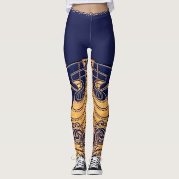 Beach Themed Antique Vessel,Dolphins,Gold,Navy Blue Nautical Leggings