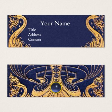 Beach Themed Antique Vessel,Dolphins,Gold,Navy Blue Nautical Mini Business Card