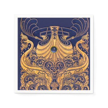 Beach Themed Antique Vessel,Dolphins,Gold,Navy Blue Nautical Paper Napkin
