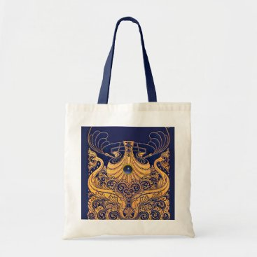 Beach Themed Antique Vessel,Dolphins,Gold,Navy Blue Nautical Tote Bag