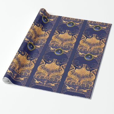 Beach Themed Antique Vessel,Dolphins,Gold,Navy Blue Nautical Wrapping Paper