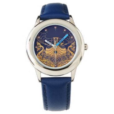 Beach Themed Antique Vessel,Dolphins,Gold,Navy Blue Nautical Wrist Watches