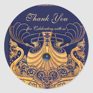 """Antique Vessel,Dolphins,Gold,Navy Blue """"Thank You"""" Classic Round Sticker"""