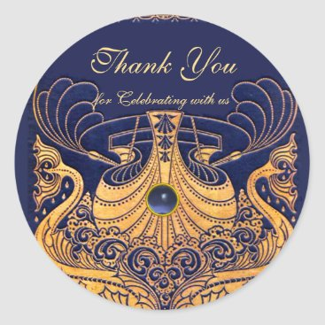 "Beach Themed Antique Vessel,Dolphins,Gold,Navy Blue ""Thank You"" Classic Round Sticker"