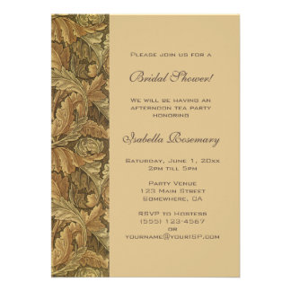 Antique Victorian Autumn Leaves Bridal Shower Personalized Invitations