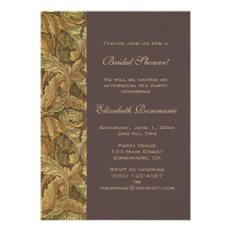 Antique Victorian Autumn Leaves Bridal Shower Personalized Invitation