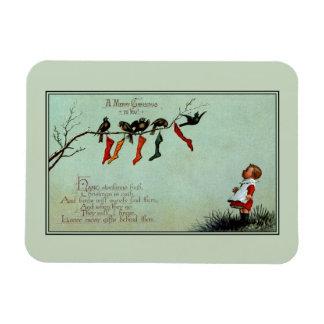 Antique Victorian Christmas child toddler birds Magnet