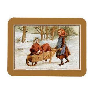 Antique Victorian Christmas Santa girl wheelbarrow Magnet