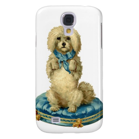 Antique Victorian Cute Dog on  blue Tufted Cushion Samsung S4 Case