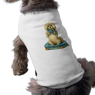 Antique Victorian Cute Dog on  blue Tufted Cushion Shirt