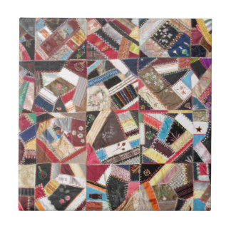 Antique, Victorian-Era, Crazy Quilt Ceramic Tile