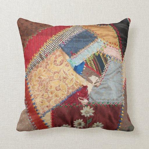 Vintage Victorian Pillows : Antique, Victorian-Era, Crazy Quilt Square Pillow Zazzle