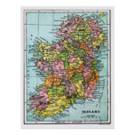 Antique Victorian Era Map of Ireland Poster
