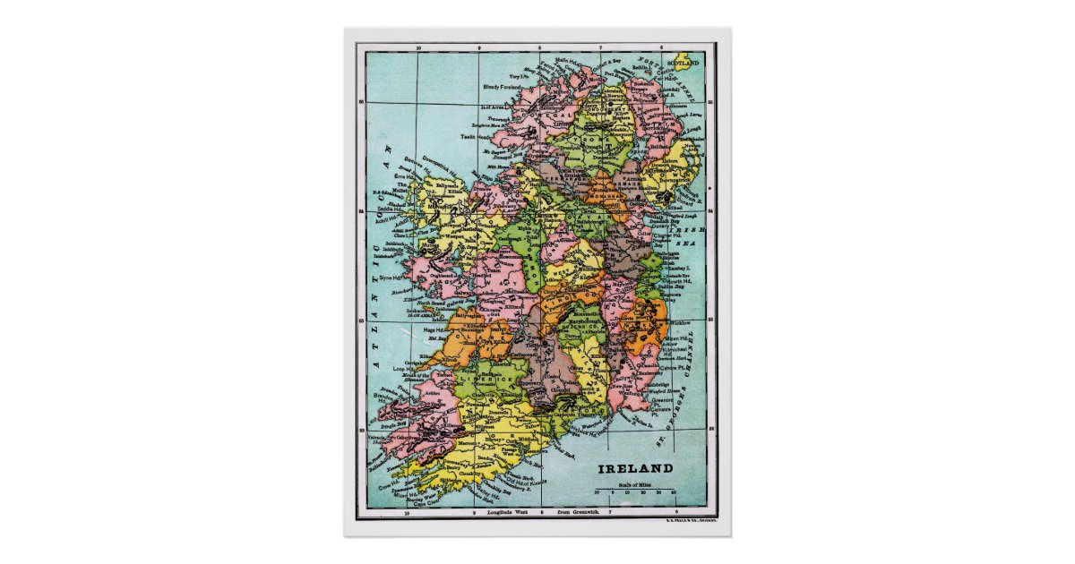 Map Of Ireland Poster.Antique Victorian Era Map Of Ireland Poster Zazzle Com