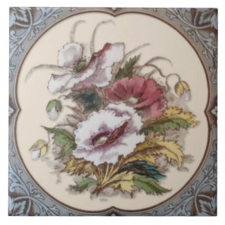 Antique Victorian Floral Transferware Tile Repro