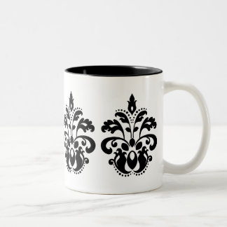 Antique victorian lolita damask motif Two-Tone coffee mug