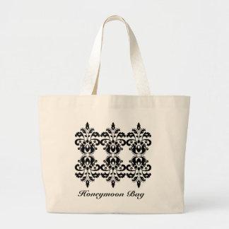 Antique victorian lolita damask pattern large tote bag