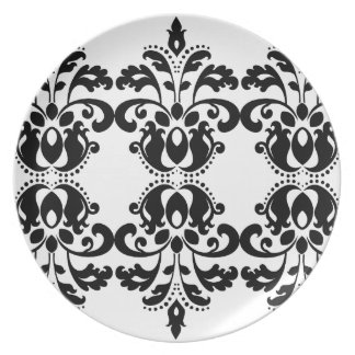 Antique victorian lolita damask pattern party plate