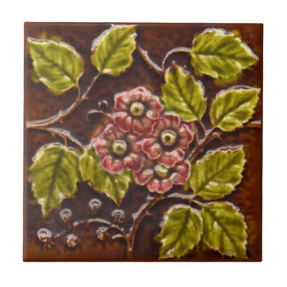 Antique Victorian Majolica Floral Tile Repro