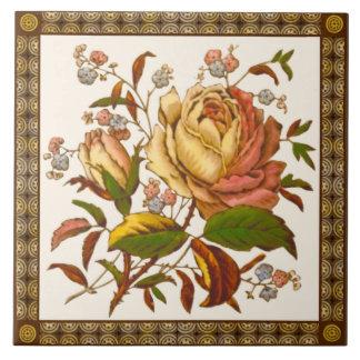 Antique Victorian Rose Tranferware Tile Repro