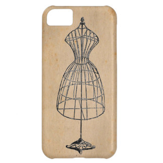Antique Victorian Steampunk Wire Lady Dress Form Case For iPhone 5C