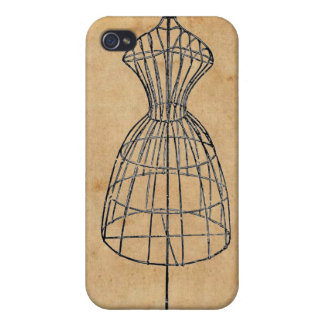 Antique Victorian Steampunk Wire Lady Dress Form iPhone 4/4S Case