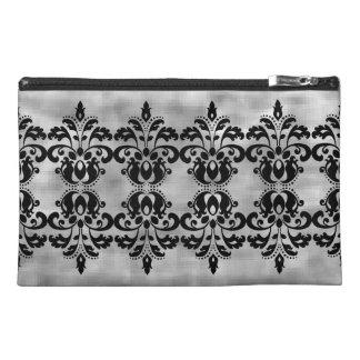Antique victorian vintage black damask pattern travel accessory bag